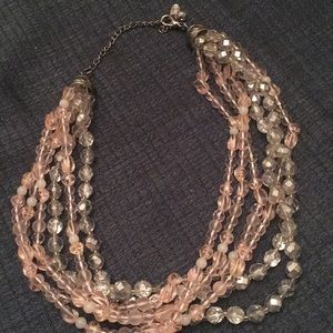 Cute faux pink and grey crystal necklace